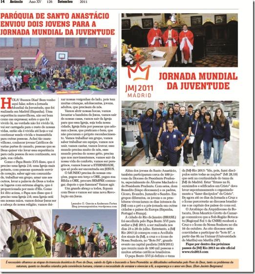 Artigo Jovens Apóstolos - JMJ Madri - Jornal da Diocese PP
